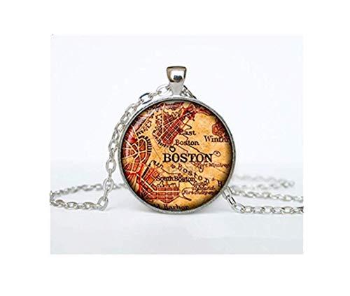 Vintage Karte von Boston Anhänger Old Map von Boston Halskette Antike Landkarte von Boston Jewelry