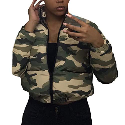 Coats Unisex Women's Long Sleeve Glossy Camouflage Bread Down Jacket Zipper Pockets Coat Outdoor Functional Windbreaker