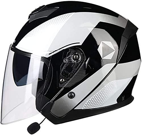 qaqy Casco de Motocicletas de Casco de Cara Abierta Liviana Harley con cáscara de ABS, para Carreras de Motocross, Cascos Profesionales de Chorro de Motocicletas 3/4 con Auricular Bluetooth
