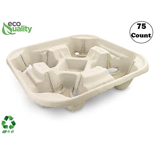 300 Pieces B.N.D Top Products Biodegradable Pulp Fiber 4 Cup Drink Carrier Tray Holder for Cold or Hot Drinks