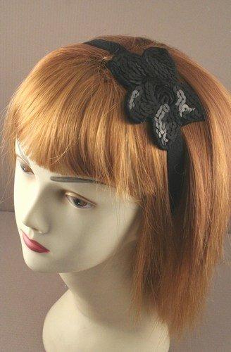 Bandeau à paillettes – Noir Fleur sur Large (2 cm) Noir élastique Head Band