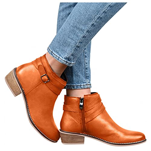 HLENLO Women's Zipper Non-Slip Booties Solid Color Ankle Leather Round Toe Combat Shoes Square Heels Retro Short Booties Brown