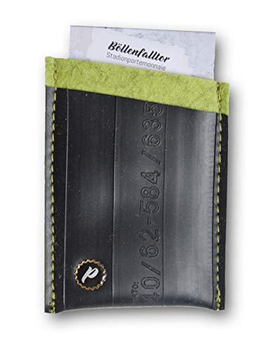Plattgold Geldbörse aus Fahrradschlauch Kiwi Upcycling Portemonnaie Herren Wallet Damen Portmonee Kartenetui Kreditkartenetui Outdoor Darmstadt Eco Fashion Nachhaltig Made in Germany bis zu 8 Karten