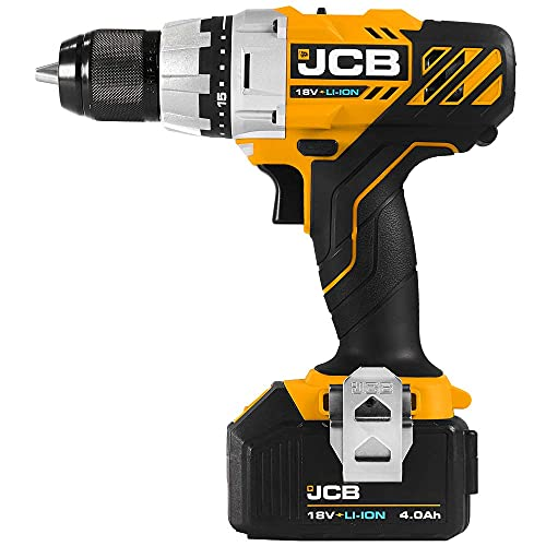 JCB - 18V Professional Cordless Battery Drill Driver, 4.0Ah Battery and Charger Power Hand Tool Set - Drilling, Electric Drill Screwdriver, LED Light, Tool Belt Clip, for Masonry, Wood, Metal