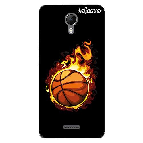 dakanna Funda Compatible con [Wiko Jerry 2] de Silicona Flexible, Dibujo Diseño [Balón de Baloncesto en Llamas], Color [Borde Transparente] Carcasa Case Cover de Gel TPU para Smartphone