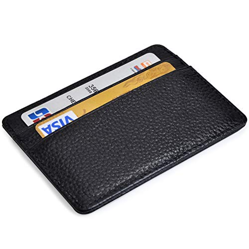 Credit Card Holder Slim Wallet Leather Minimalist Wallet with ID Window (black)