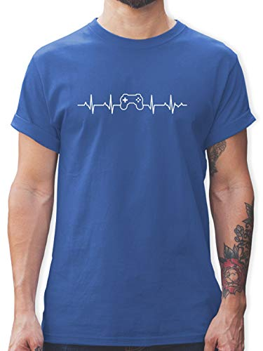 Nerds & Geeks - Herzschlag Gaming Controller - S - Royalblau - Tshirt Gaming Herren - L190 - Tshirt Herren und Männer T-Shirts