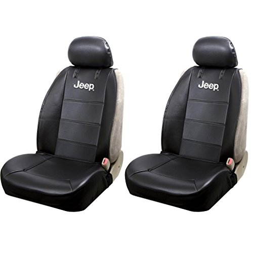 U.A.A. INC. Front Sideless Black Synthetic Leather Seat Covers Set