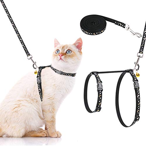 PAWCHIE Cat Harness and Leash Set - Adjustable Soft Escape Proof H-shped Safety Strap with Golden Moon and Star Pattern Glow in The Dark for Pet Cats Outdoor Walking