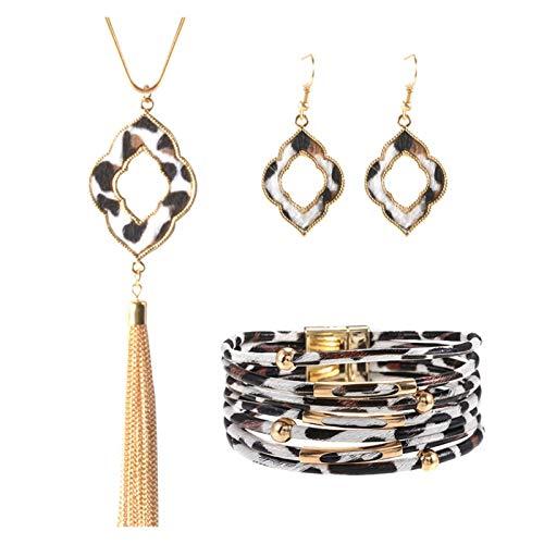 ZCPCS Collar de Pulsera de Cuero de aleación Conjunto de Joyas de Anillo de Oreja de Moda de Mano Europea y Americana (Color : D)