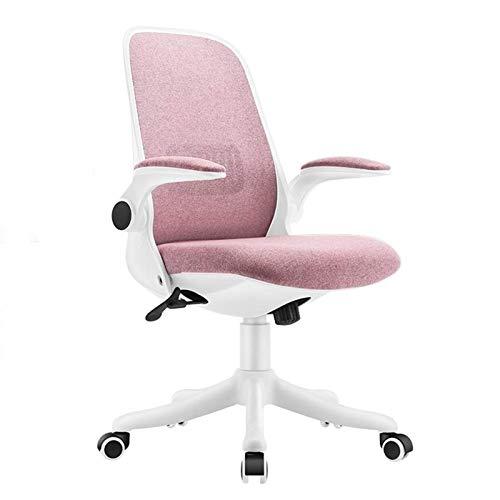 SMLZV Sillas de Oficina, Silla de Escritorio de Oficina para el hogar Tela Moderna Silla de Oficina Baja con sillas de Oficina de Altura Ajustable (Color : Pink)