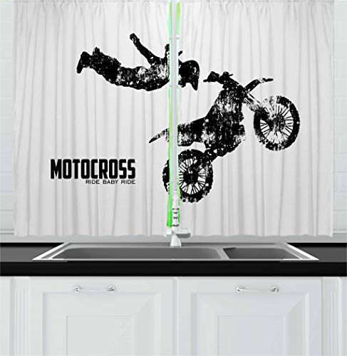 Lunarable Dirt Bike Kitchen Curtains, Weathered Effect with Biker Silhouette and Motocross Racing Moves Theme, Window Drapes 2 Panel Set for Kitchen Cafe Decor, 55' X 39', Coconut Black