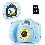Fede KinderKamera, Kinder Digital Kamera Spielzeug, Selfie Kamera für Kinder, Kinder Digital-Camcorder mit 2,0 Zoll Bildschirm, HD 12MP/1080P Doppellinse, 32GB TF-Karte, für 3-12 Jahre alte Jungen