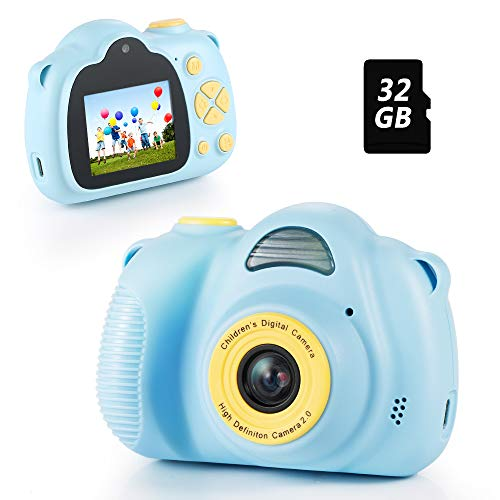 Fede Boys Toys Age 3 4 5 6 7 8, Kids Digital Camera for Boys Toddler Camera Video Recorder HD 12MP 1080P with 32G SD Card, Kids Christmas Birthday Gifts Toys for 3 4 5 6 7 8 Year Old Boys Blue