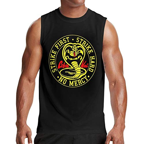 Mans Cobra Kai Muscle Tank Vest Outdoor Sleeveless T Shirt L Gift Black