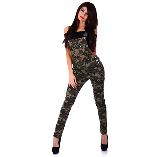 Fashion4Young 5901 Damen Latzhose Röhrenhose mit Hosenträgern Overall Camouflage (M=38, Camouflage)