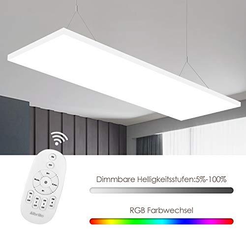 Albrillo Frameless LED Panel 120x30cm - 35W Dimmbar und RGBW Deckenleuchte mit 7 Lichtfarben und Neutralweiß 4000K, Inkl. Fernbedienung, Einstellbare Seilaufhängung und LED Trafo
