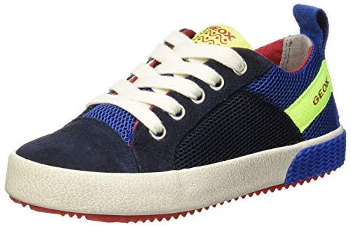 Geox Jungen J Alonisso Boy B Sneaker, Blau (Navy/Fluo Yellow C4502), 37 EU