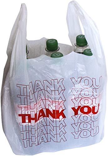 """NASS® Sacchetti per il trasporto """"Thank You"""", sacchetti di plastica, 54 x 28 + 12 cm, 24 my, 15 litri, colore: bianco, 200 pezzi"""