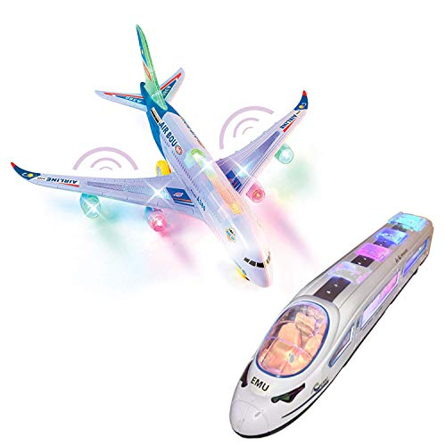 Bump and Go Airplane A380 and Hight Speed Train Toys 2x1 for 3 - 7 Years Old and up Plane and Train Toy Model with Lights and Music, Bump and Go Toys for Boys and Girls