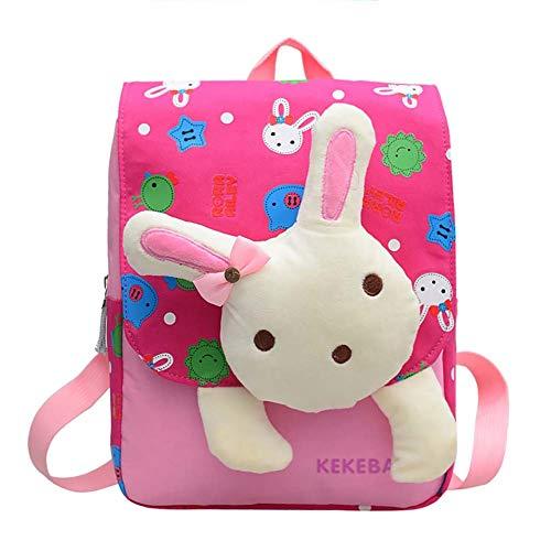 CAOLATOR Kinderrucksack Kindergarten Karikatur Kaninchen Kindergartenrucksack Baumwolle Rucksäcke Tasche Schultaschen für Mädchen Kinder Jungen Kleinkind-Rose rot