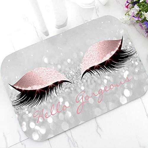 OPLJ Pestañas Brillantes de Oro Rosa de Moda Bienvenido Felpudo Maquillaje Brillante Felpudo Alfombra Alfombra Elegante hogar Belleza A7 60x180cm