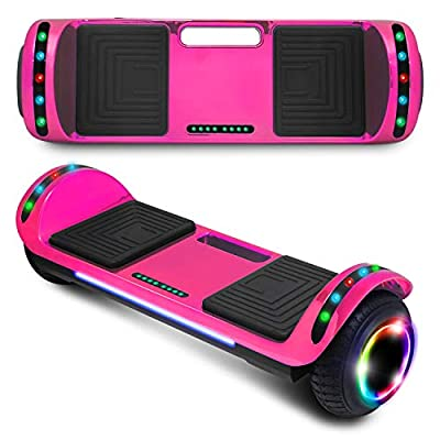 """cho New Hoverboard Electric Smart Self Balancing Scooter with Built-in Wireless Speaker 6.5"""" LED Wheels and Side Lights Safety Certified (Chrome Pink)"""