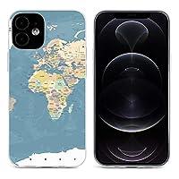 青いアフリカヴィンテージ世界地図詳細 Map iPhone 12&iPhone 12 Pro&iPhone 12Pro Max&iPhone 12 miniと互換性のあるクリスタルクリアTPUケース、アンチイエロー、保護耐衝撃落下保護ケース