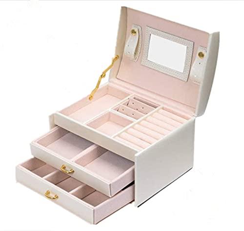 Caja Joyero ,Portátil Joyero Viaje Cajas para Joyas Jewelry Organizer para Mujer, para Anillos, Aretes, Pendientes, Pulseras y Collares (Blanco)