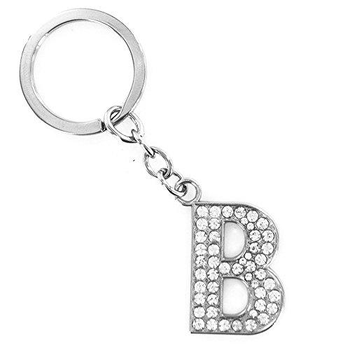 LeSo © Schlüsselanhänger Buchstaben Anhänger mit Strass Steinen Buchstabe B K027