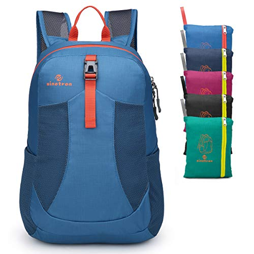 Sinotron Lightweight Packable Backpack,Small Foldable Hiking Backpack Day Pack for Travel Camping Outdoor Vacation (Blue)