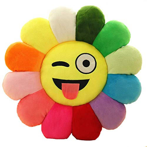 Emoji Chair Seat Cushion,smile Flower Shaped Throw Pillow Sunflower Pad Soft Toys Sofa Floor Cushions For Girls Reading Bed Room Decoration-i Diameter:45cm(18inch)
