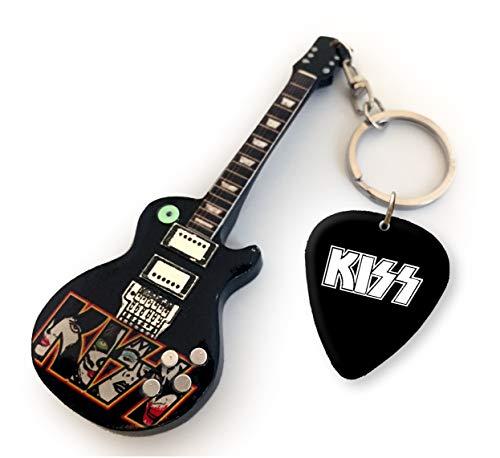 Kiss Logo US Llavero de Guitarra y púa a Juego