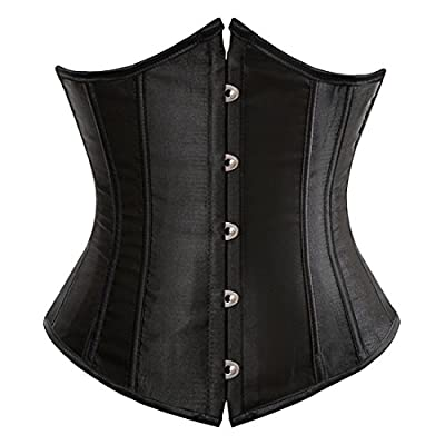 Zhitunemi Women's Satin Underbust Corset Bustier Waist Training Cincher Plus Size 4X-Large Black