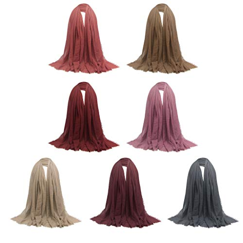 kowaku 7X Bufanda Larga con Estilo para Mujer Plisada Hijab Turbante Judío Bufandas para La Cabeza