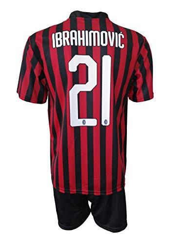 3R SPORT SRL Completo Ibrahimovic Milan Ufficiale 2019-20 Bambino Uomo Adulto Zlatan Maglia + Pantaloncini Pantaloncino Completino 21 Home (M)