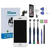 Xlhama Tactile Écran LCD Display pour iPhone 5S/Se Blanc avec Bouton Home, Caméra Frontale, Capteur de Proximité Haut-Parleur,Outils et Feuille en Verre Trempé