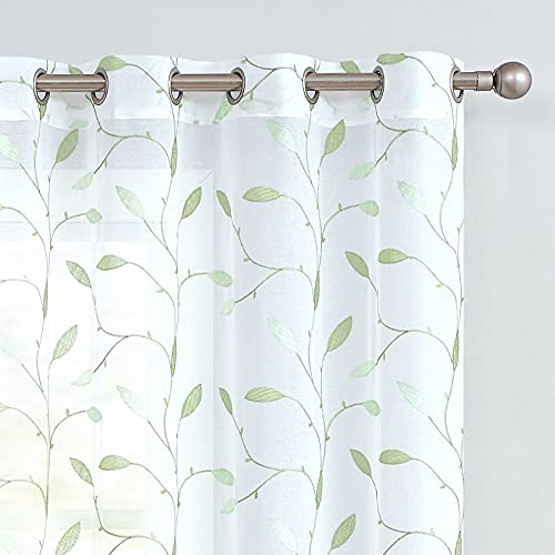 Lazzzy Sheer Curtains Embroidered Floral Leaf Voile Drapes for Bedroom Living Room Grommet Top Window Treatments 2 Panels 84 Inches Green on White
