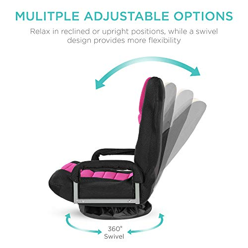Best Choice Products Multipurpose 360-Degree Swivel Gaming Floor Chair for TV, Reading, Playing w/Lumbar Support, Armrest Handles, Foldable Adjustable Backrest - Pink