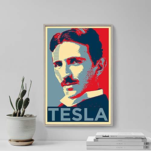 Posters Vintage Women Nikola Tesla Original Art Print - Photo Poster Gift Wall Decor - Hope Portrait Serbian Scientist Inventor Electrical Engineer Science