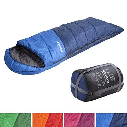 KeenFlex Schlafsack 3 Jahreszeiten Deckenschlafsack Ideal für Camping Backpacking oder Wandern (Blau)