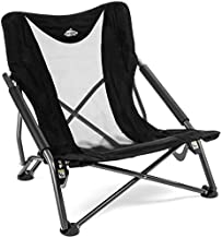 Cascade Mountain Tech Camping Chair - Low Profile Folding Chair for Camping, Beach, Picnic, Barbeques, Sporting Event with Carry Bag , Black