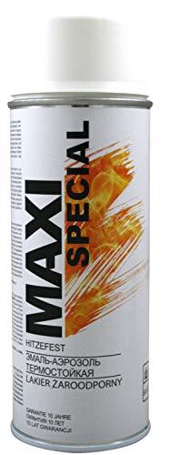 MAXI COLOR Pintura en aerosol resistente al calor, pintura para horno, 400 ml, pintura resistente al calor, alta temperatura, larga duración (800 °C blanco mate)