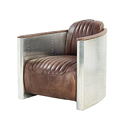 ACME Furniture AC- Sofa, Retro Brown TG Leather & Aluminum - Top grain Leather Pillows not included Tight Back & Seat Cushion - sofas-couches, living-room-furniture, living-room - 41g+qry9JCL. SS400  -
