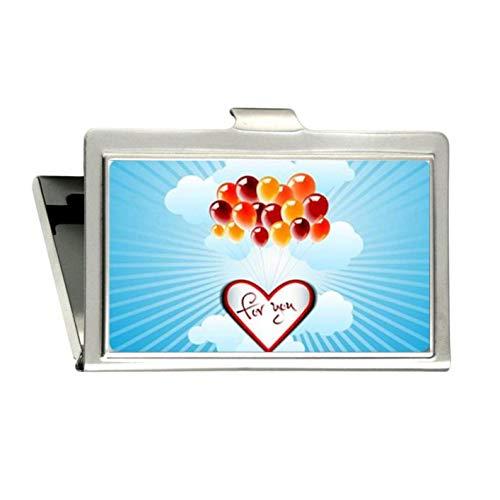 Hot-Air Luftballons Love for You Vogue Bild gedruckt Custom Edelstahl Silber Visitenkartenhülle Halter Namenskarte Kreditkarte Ausweis Geld Oranizers