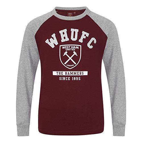 West Ham United FC - Camiseta Oficial con Mangas raglán y el Escudo del Club - para niño - Burdeos - 12-13 años