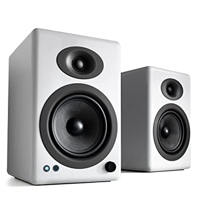 Audioengine A5+ 230W Wireless Bookshelf Speakers | Built-in Analog Amplifier | aptX HD Bluetooth 24 Bit DAC, RCA and 3.5mm inputs | Solid Aluminium Remote Control | Cables included (Bluetooth, White) by Audioengine