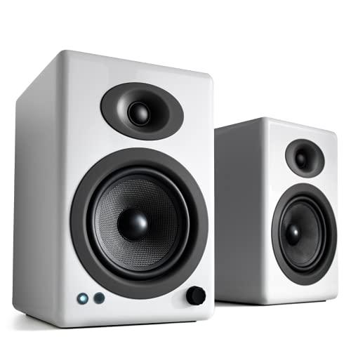 Audioengine A5+ (Plus) Bluetooth Lautsprecher | Desktop Lautsprecher mit aptX HD Bluetooth | 230 Watt Regallautsprecher AUX-Audio, USB, Cinch, 24-Bit-DAC (Bluetooth, Weiß)