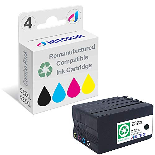 HOTCOLOR 932XL 933XL Ink Cartridges Black Cyan Magenta Yellow 4Pack use for HP OfficeJet 7510 6700 7110 Printer