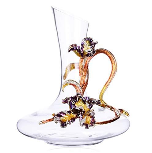 NAXIAOTIAO Fleur de Lis Vino Alto Occhiali Gift Sets mestiere Handmade dello Smalto di Cristallo del Vino Rosso Occhiali Gift Box Anniversario e Articoli da Regalo di Nozze,1